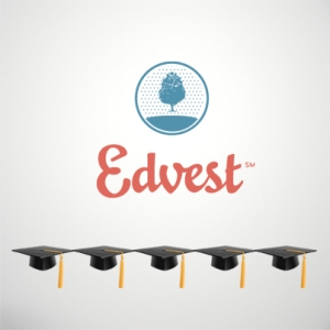 Edvest logo with 5 graduation caps